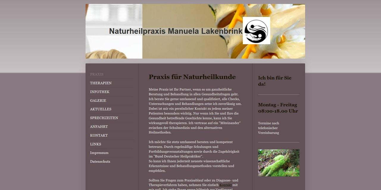 Screenshot Naturheilpraxis Manuela Lakenbring