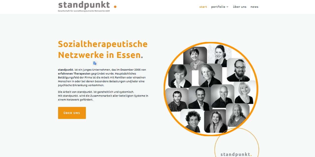 Screenshot neue Webseite Standpunkt Essen